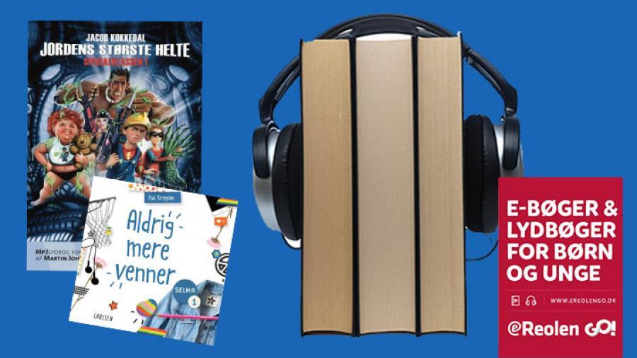 Billede af bogstak og høretelefoner. E-bøger og lydbøger for børn og unge